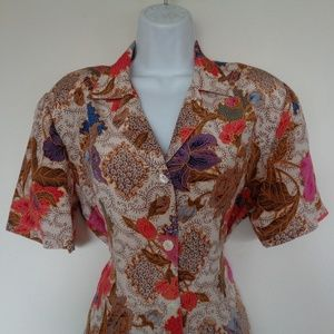 Ann Taylor Silk Floral Blouse Size 8